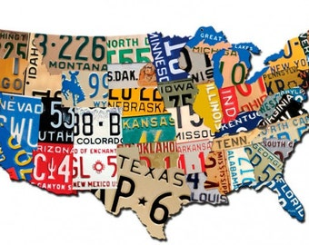 License Plate Map Etsy - Us map wall decor