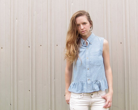 Eco Friendly Denim Top Sleeveless Peplum Top Button Down Chambray Top Sustainable Fashion Handmade Clothing Women's Top Conscious Clothing