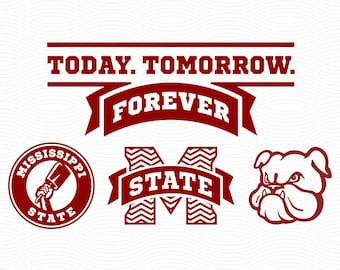 Mississippi State Bulldogs Cutting Files - SVG, EPS, DXF, Studio3 - Cowbell Cut Files for Silhouette Studio, Cricut Design Space