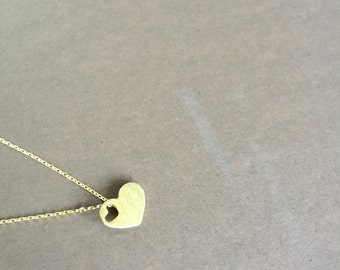 Gold Heart Pendant Necklace, Small Pendant necklace