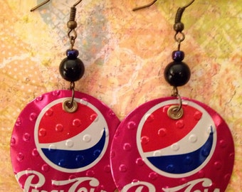 Up-Cycled Cherry Pepsi Earrings, soda can earrings, recycled can jewelry