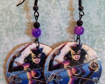 Cat Woman Comic Earrings, Up-cycled Cardboard Decoupage