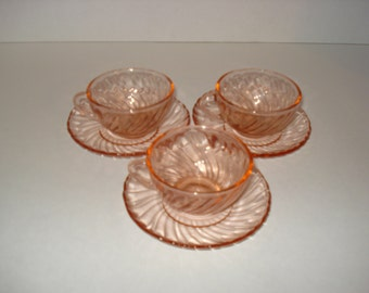 Set of Six Expresso Coffee Cups and Saucers - Arcoroc France - Roseline Pattern