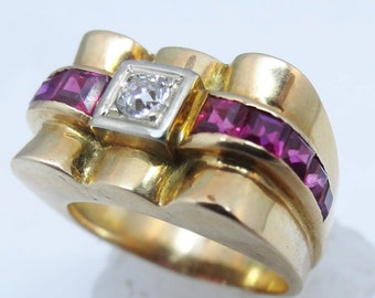 Vintage Deco Retro Ring 18k Gold Diamond Ruby French for Man or Woman (#5876)