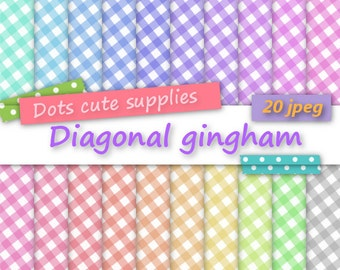 20 Digital small DIAGONAL GINGHAM assorted digital papers,20 jpeg files,digital scrapbooking,colorful paper,happy colours,pastel colours
