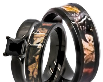 his hers 125 ct natural genuine black spinel camo 3 pcs surgical stainless steel engagement - Camo Wedding Rings Sets