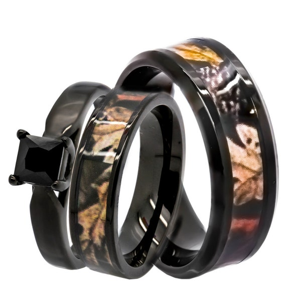 His & Hers 1.25 ct Natural Genuine Black Spinel Camo 3 pcs Surgical Stainless Steel Engagement Wedding Rings set
