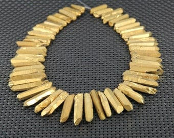 15.5 inches of strand Electroplating Gold Titanium Quartz Crystal Points Beads,Spikes Shape Faceted Gemstone Pendants