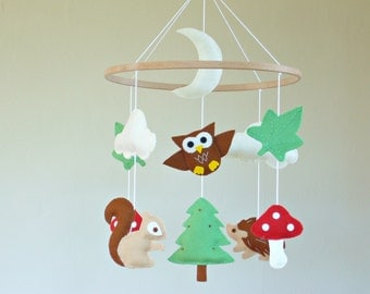 Forest Baby Mobile, Woodland Baby Mobile, Owl Cot Mobile, Woodland Nursery Decor, Forest Animals Baby Mobile, Felt Crib Mobile.