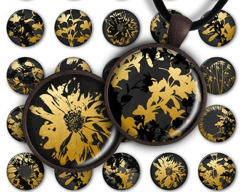 75% OFF SALE Gold&Black Flowers Digital Collage Sheet 1inch Round 25mm 20mm Circle Pendant PC059 Instant Download Jewelry Making