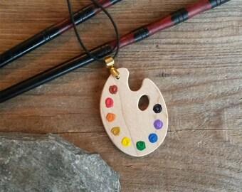 Painters Palette Pendant - Miniature Artists Palette Necklace - Artists Gift - Handmade Necklace