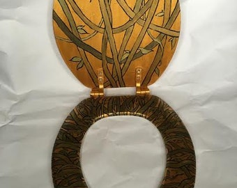 Hand Painted Gold Toilet Seat with Vines!