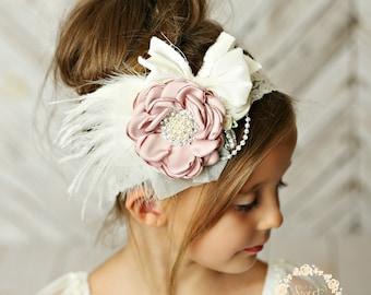baby girl headband, girl headband, couture headband, dusty rose headband,Baby headbands , fancy headband, lace headband, vintage headband