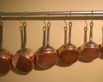 Hanging pan rack galvanised tube heavy duty urban look
