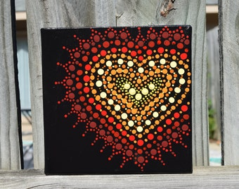 Red and Yellow Lace Heart Mandala Handpainted on 6x6 Canvas