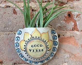 Wall Pocket, Vase, Ceramic Planter, Handmade, Clay, OOAK, Garden Art, Air Plant, Plant Pocket, Good Vibes Planter, Stoneware