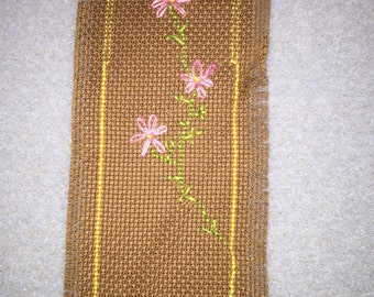 Brown bookmark with pink flowers