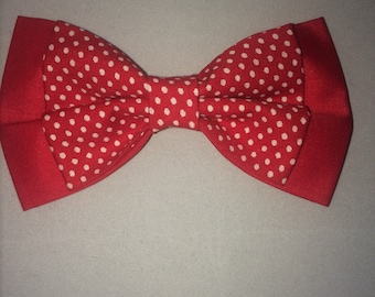 handmade dog bow tie, double layered red and white polka dot