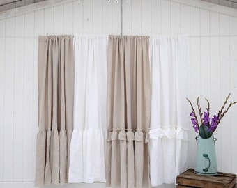 Linen Curtain, Linen Drapes, Window Curtains. Shabby Chic Curtains. Stonewashed and Premium Quality!
