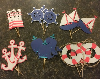 Nautical Cupcake Topper - Cupcake Toppers - Nautical Themed Topper