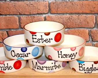 Small Hand painted personalised ceramic dog puppy cat kitten spotty bowl dish feeder