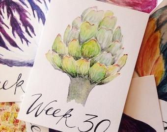 Week by Week Watercolor Pregnancy Calendar / Pregancy Tracker / Weekly Pregnancy Calendar / Weekly Pregnancy Photo Prop / Bump Size