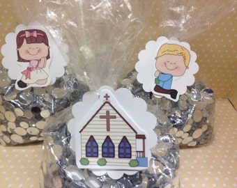 Praying, Church Party Favor or Candy Bags with Tags - Set of 10