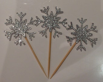 12 x Sparkling snowflake cupcake toppers