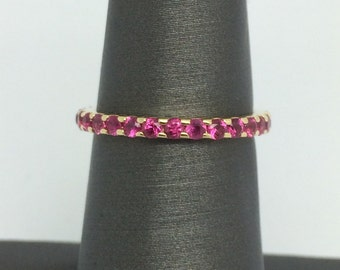 14K Yellow Gold Natural Ruby Eternity Band