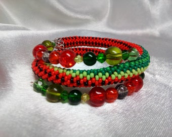 Watermelon bead bracelet summer fruit yoga jewelry boho loose multicolored berry red seed colors stretchable bohemian beaded gift for her