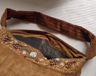 Handmade bag reusing skirt alcantara and decoration in beads, 40 cm width