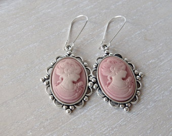 Pink Cameo Earrings Victorian earrings Vintage earrings Bow earrings Victorian Lady Cameo Jewelry Mothers day gift Bridesmaid  Woman Cameo