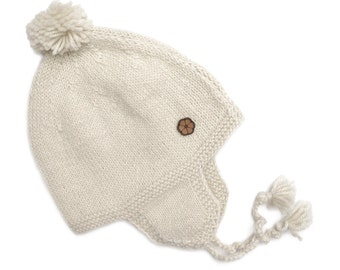 """Bonnet white baby, type """"chullo"""", 100% natural color alpaca, hand made"""