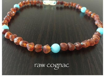 Baltic Amber Teething Necklace - TURQUOISE