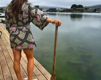 Cotton Black, White and Pink Kimono Boho Robe Dressing Gown - African wax print