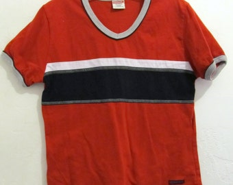 A Teens 90's,SPORTY Red V-Neck Short Sleeve Top By UB.L