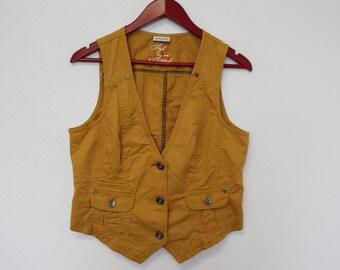 Mustard Yellow Womens Vest Light Womens Brown Waistcoat Medium Large Size Country Hippie Boho Chic Festival Secretary vest