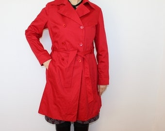 Red Trench Coat  Womens Hot Red Double Breasted Trench  Outerwear Red Overcoat Raincoat Belted  Large Size