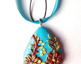 Flower polymer clay, pendant