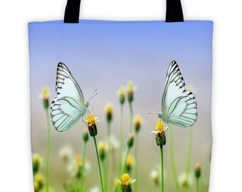 Butterfly Dandylion Tote Bag Environmentally Friendly Reuseable Market Bag Designer Book Bag Shopping Cotton Canvas Eco-Friendly 1022
