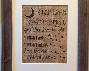 Star Light Star Bright Burlap Print | Nursery | Rustic | Baby | Gift | Baby Gift | Baby Shower Gift | Prayer | Wish