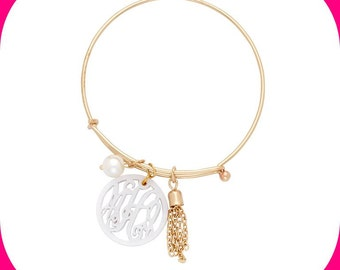 Monogram Ava Acrylic Bangle Bracelet