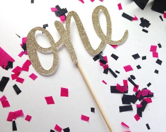 One Gold Glitter Cake Topper - Photography Prop - Birthday Party - Cake Smash - First Birthday Party - One glitter Topper