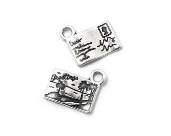 50pcs Postcard Charm - Sterling Silver Charm - Silver Charm - Zamak Charm