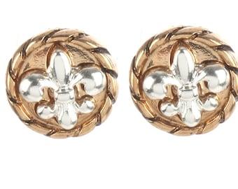 FLEUR DE LIS (Two Tone w/Silver Fleur De Lis) Stud Earrings