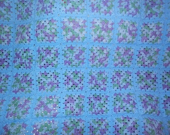 Granny Square Afghan Blue/Purple