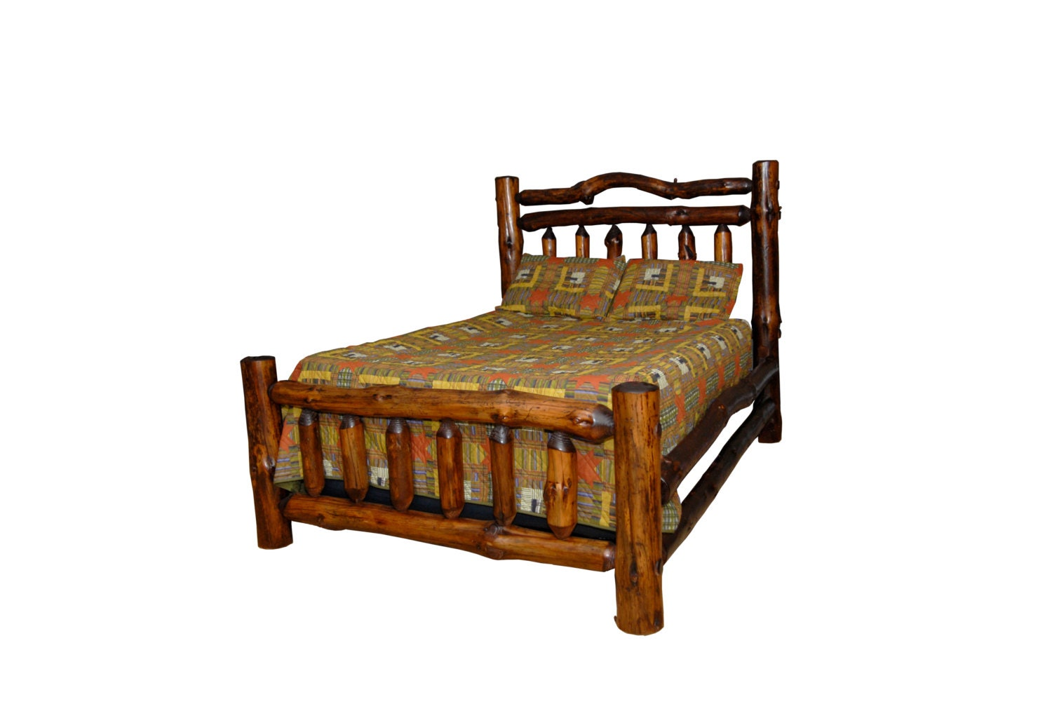 Rustic Pine Log FULL SIZE Double Rail Complete Bed Frame