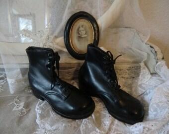 Vintage shabby antique children's shoes boots lace up boot