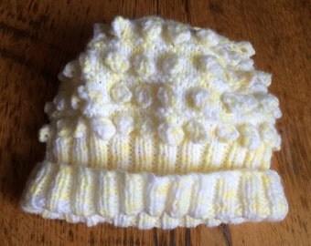 Knitted lemon Baby Hat , newborn lemon hat , Knitted Pastel lemon hat , Lemon beanie , Newborn baby gift , Lemon baby hat , Lemon bobble hat