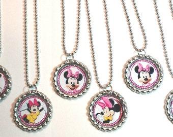 Minnie Mouse Bottle Cap Necklace Party Favor, Minnie Mouse Necklace, Minnie Party Necklace, Bottle Cap Minnie Necklace